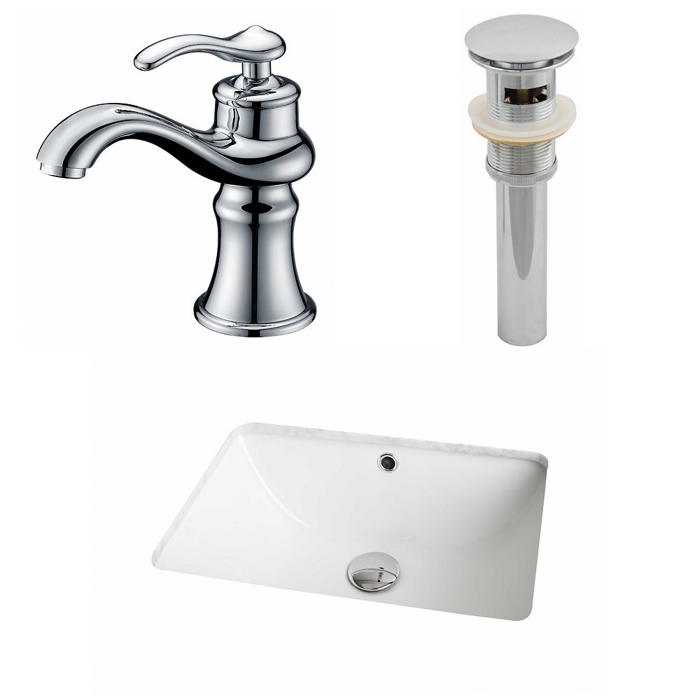 American Imaginations 18 1/4-inch W x 13 1/2-inch D Rectangular Sink Set with Single Hole Faucet and Drain in White