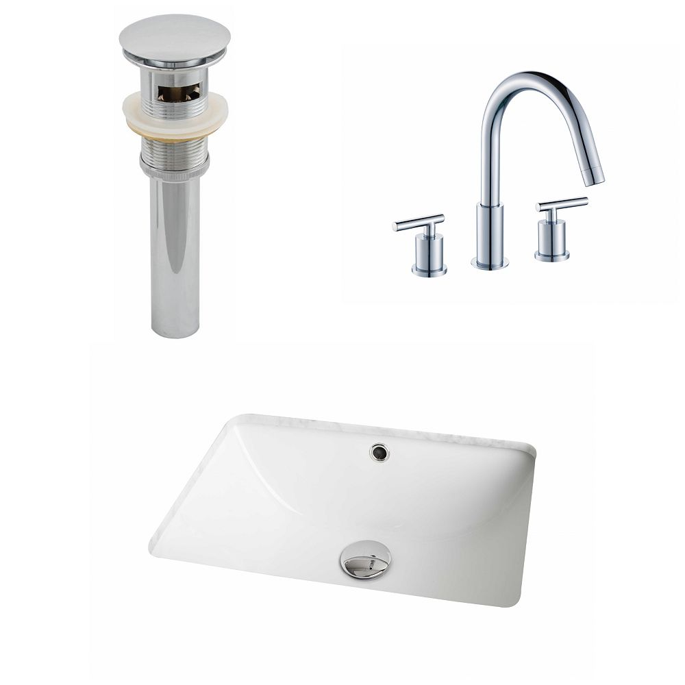 American Imaginations 18 1/4-inch W x 13 1/2-inch D Rectangular Sink Set with 8-inch O.C. Faucet and Drain in White