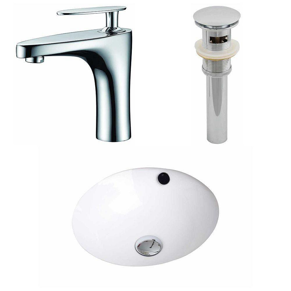 American Imaginations 16 1/2-inch W x 16 1/2-inch D Round Sink Set with Single Hole CUPC Faucet and Drain in White