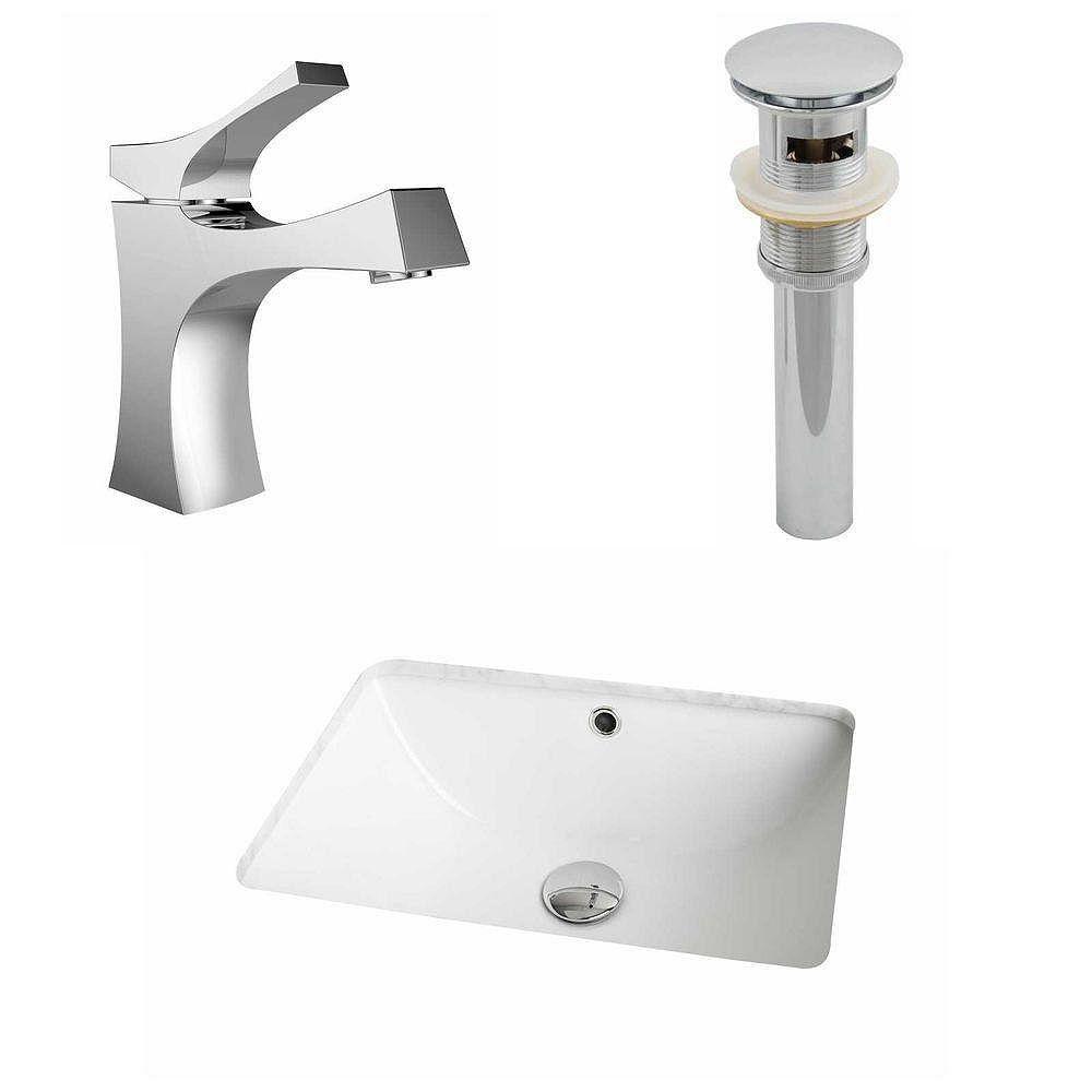 American Imaginations 18,25-in. W x 13.5-in. D CUPC Rectangle Évier Set en blanc avec Single Hole CUPC robinet et le drain