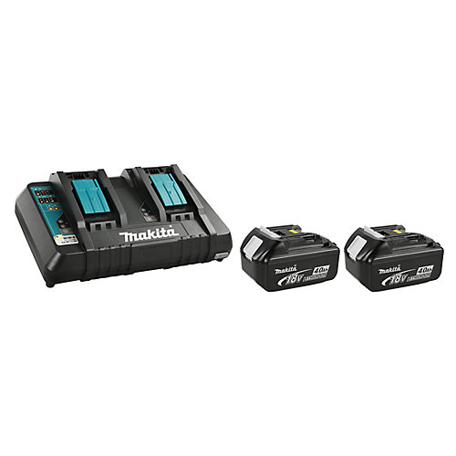18V 4.0Ah Li-Ion Battery (2-Pack) and Dual-Port Rapid Charger Kit