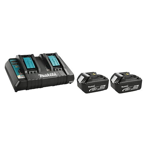 MAKITA 18V 4.0Ah Li-Ion Battery (2-Pack) and Dual-Port Rapid Charger Kit