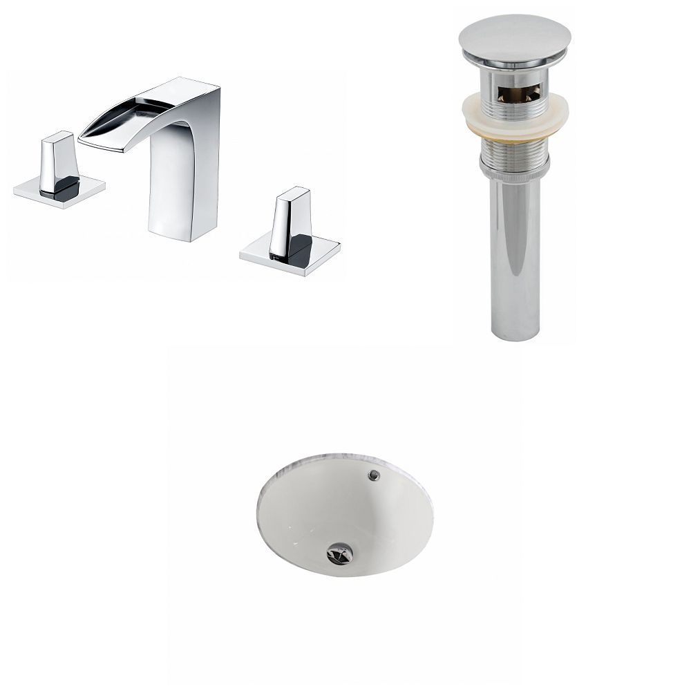 American Imaginations 15 1/2-inch W x 15 1/2-inch D Round Sink Set with 8-inch O.C. Holes in Biscuit