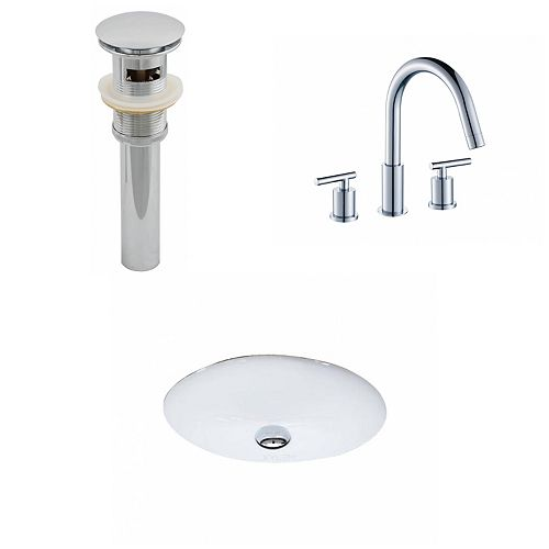 American Imaginations 19 1/2-inch W x 16 1/4-inch D Oval Sink Set with 8-inch O.C. Faucet and Drain in White