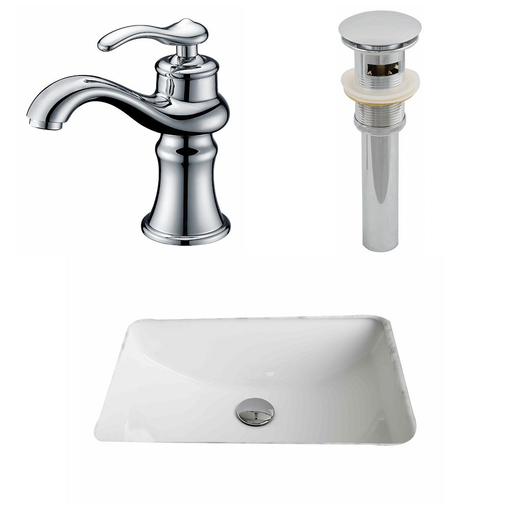 American Imaginations 20 3/4-inch W x 14 7/20-inch D Rectangular Sink Set with Single Hole Faucet and Drain in White