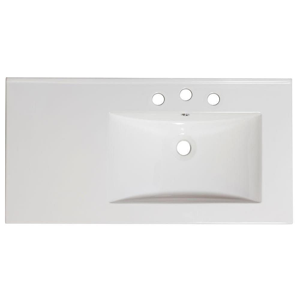 American Imaginations 36-in. W x 18.5-in. D Haut Céramique de couleur blanche Pour 8-in. O.C. Robinet