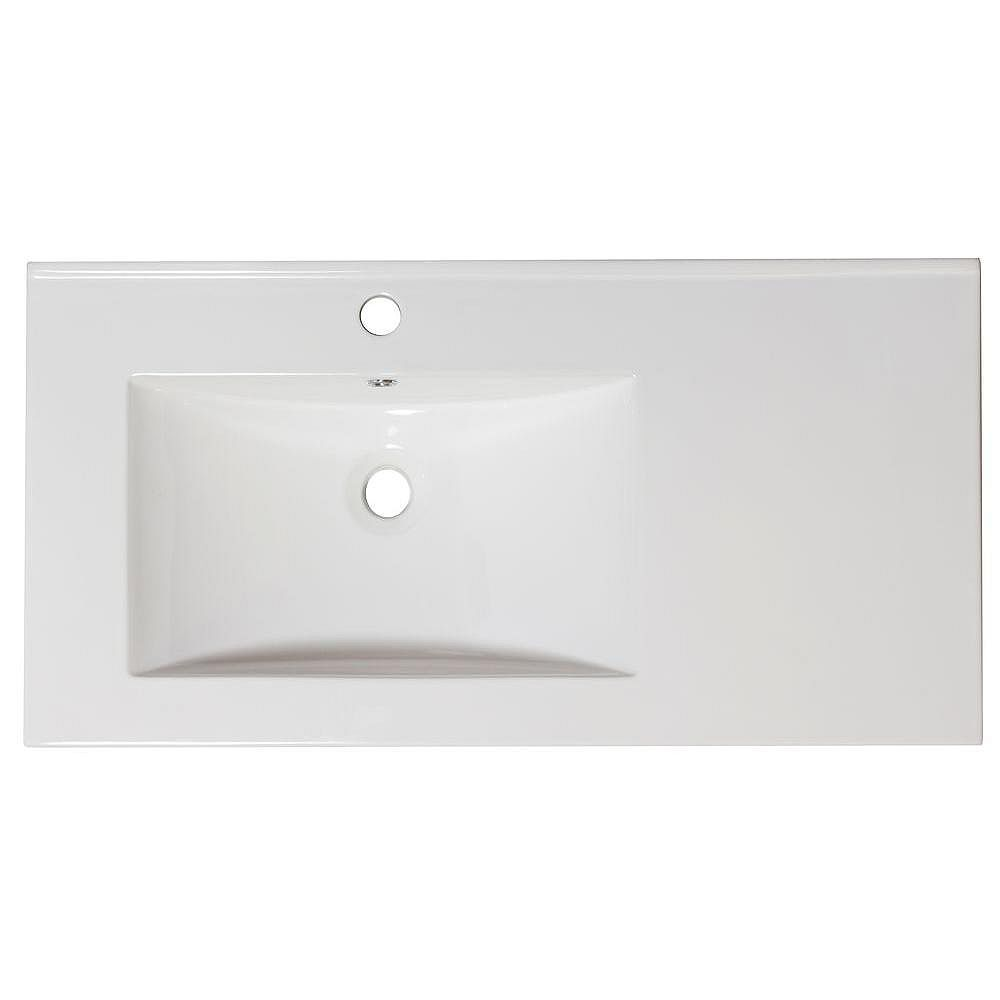 American Imaginations 36-inch W x 18 1/2-inch D Ceramic Top for Single Hole Faucet in White