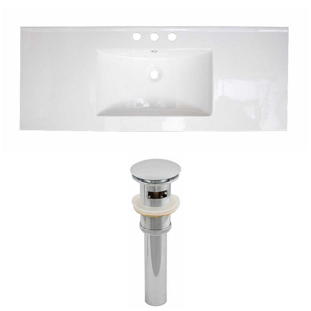 American Imaginations 48-inch W x 18-inch D Ceramic Top Set with Drain in White