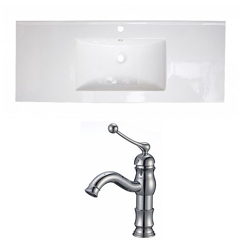 American Imaginations 40-inch W x 18-inch D Ceramic Top with Single Hole Faucet in White