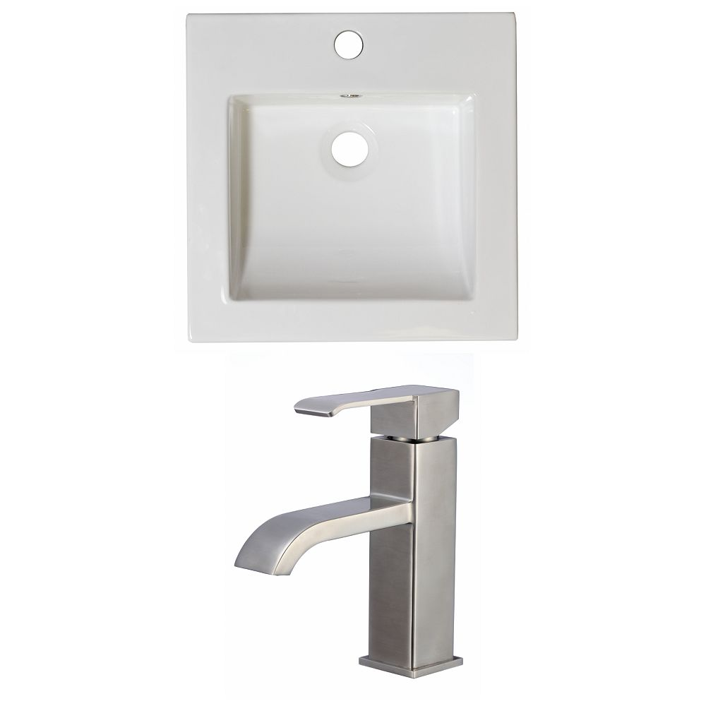 American Imaginations 16.5-in. W x 16.5-in. D Céramique Top Set In White Couleur Avec Single Hole CUPC Robinet