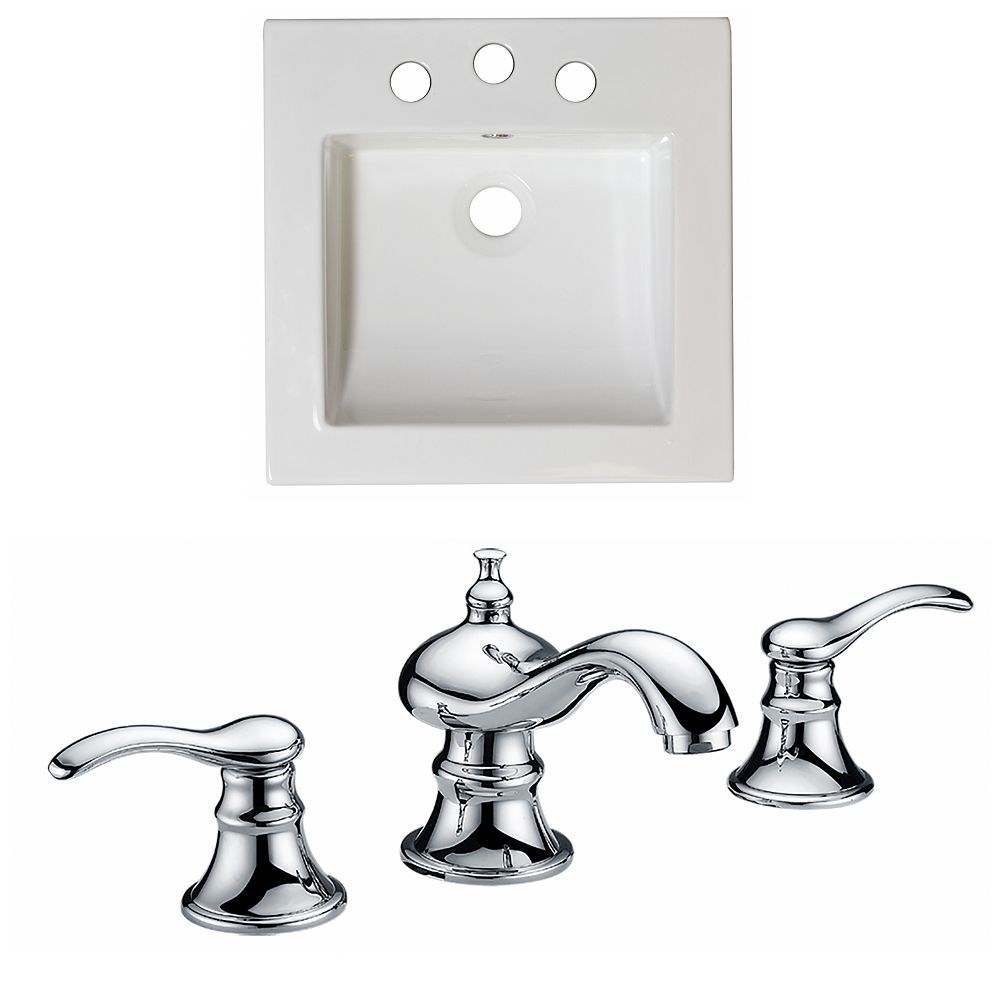 American Imaginations 16 1/2-inch W x 16 1/2-inch D Ceramic Top Set with 8-inch O.C. CUPC Faucet in White