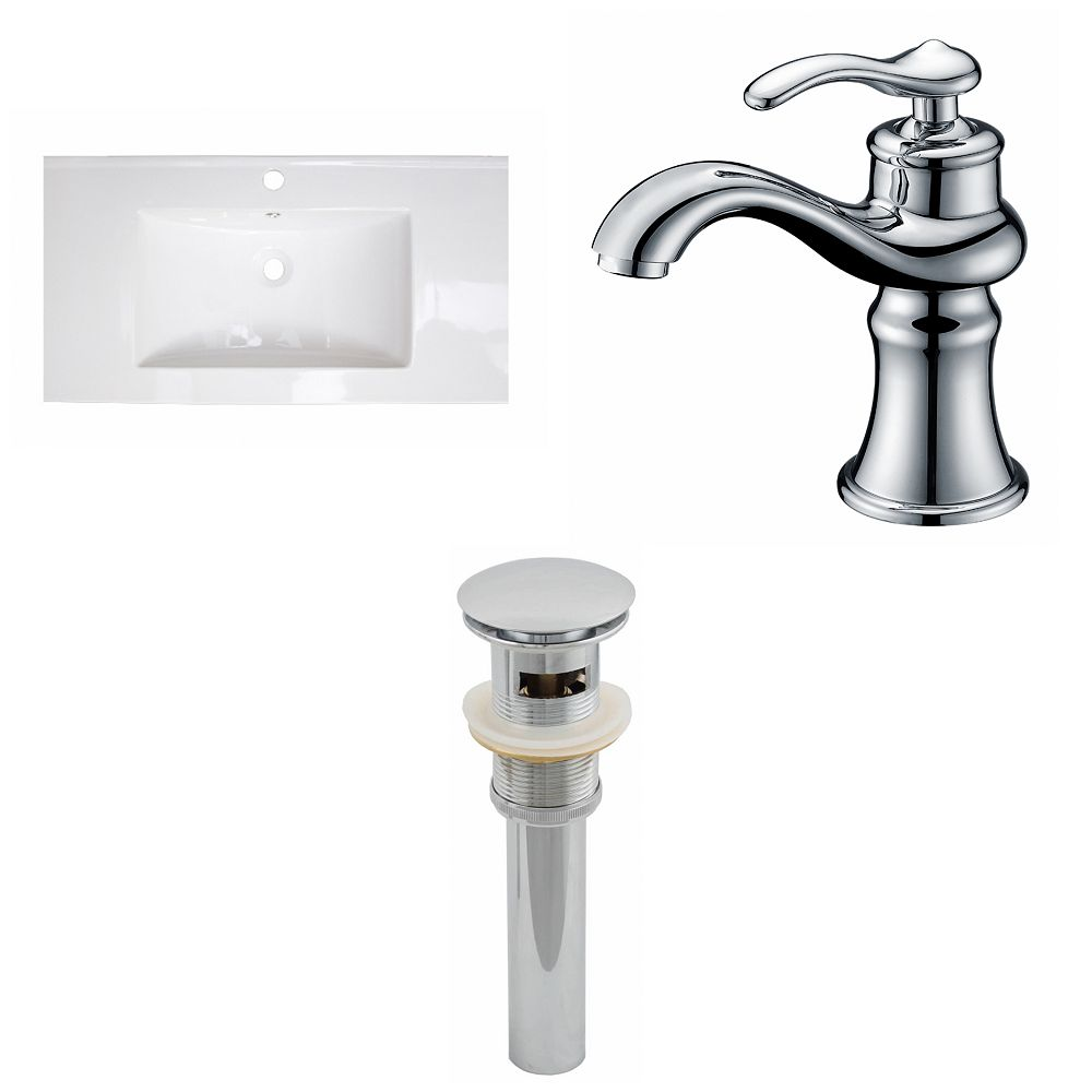 American Imaginations 36-inch W x 20-inch D Ceramic Top Set with Single Hole Faucet and Drain in White