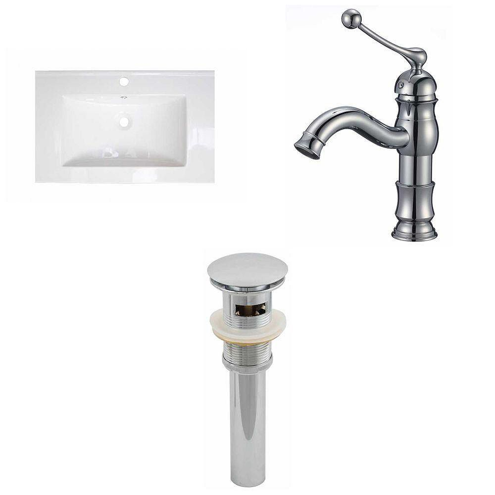 American Imaginations 24-inch W x 18-inch D Ceramic Top with Single Hole Faucet and Drain in White