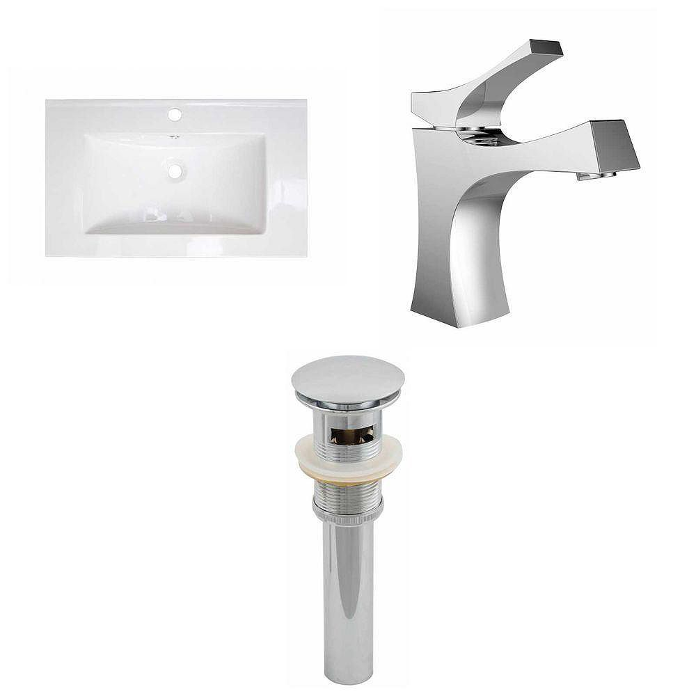 American Imaginations 32-in. W x 18 po. D Céramique Top Set In White Couleur Avec Single Hole CUPC robinet et le drain