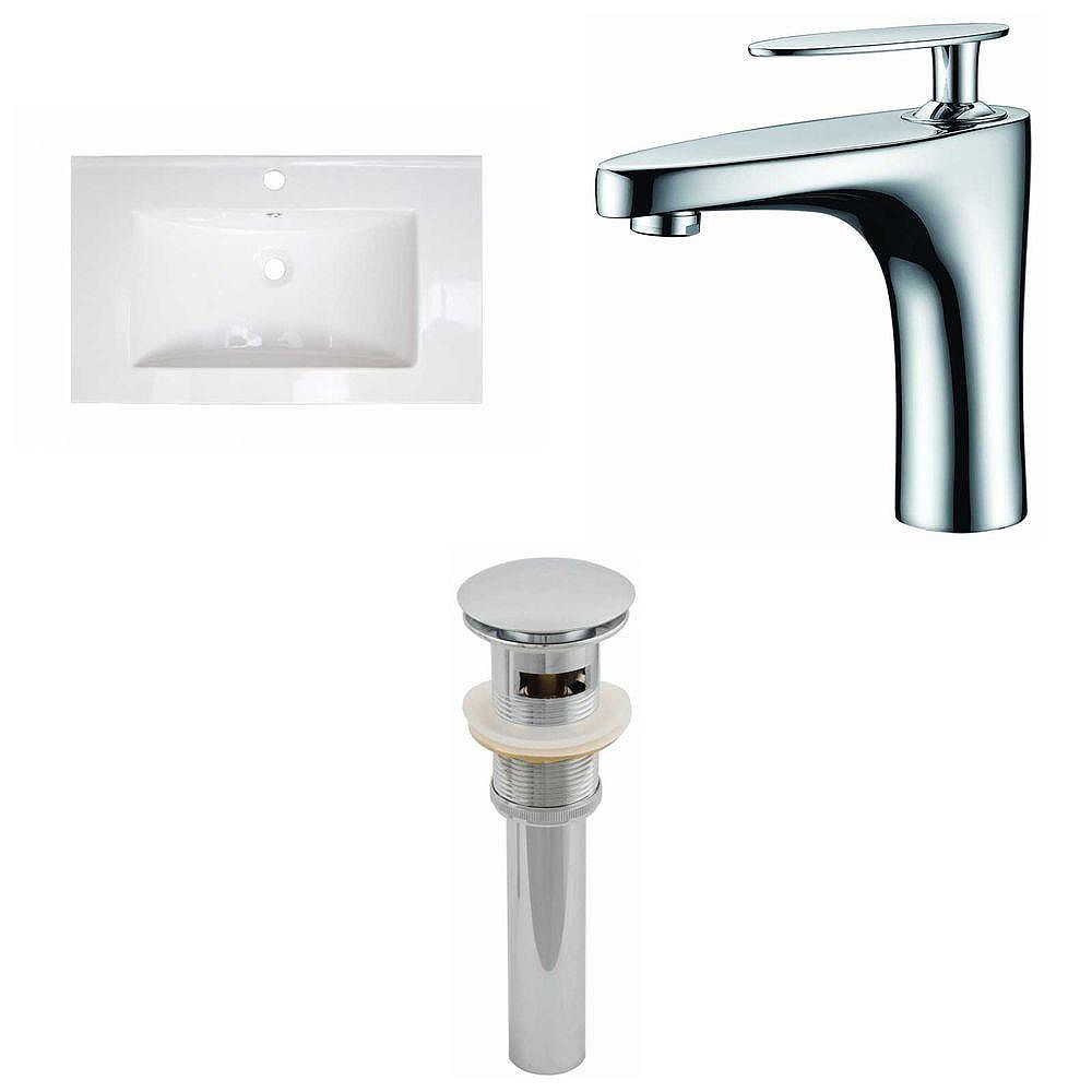 American Imaginations 32-inch W x 18-inch D Ceramic Top with Single Hole Faucet and Drain in White