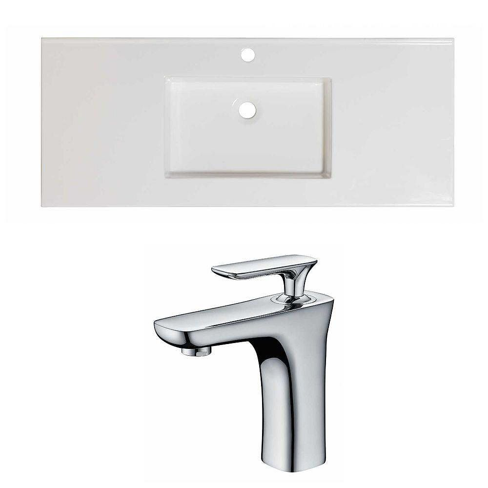 American Imaginations 48-in. W x 20 po. D Céramique Top Set In White Couleur Avec Single Hole CUPC Robinet