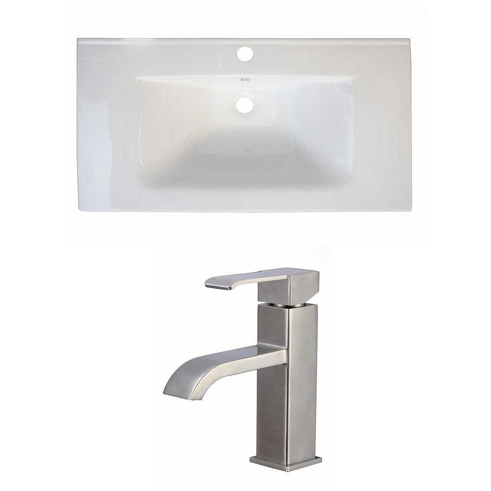 American Imaginations 32-inch W x 18-inch D Ceramic Top with Single Hole Faucet in White