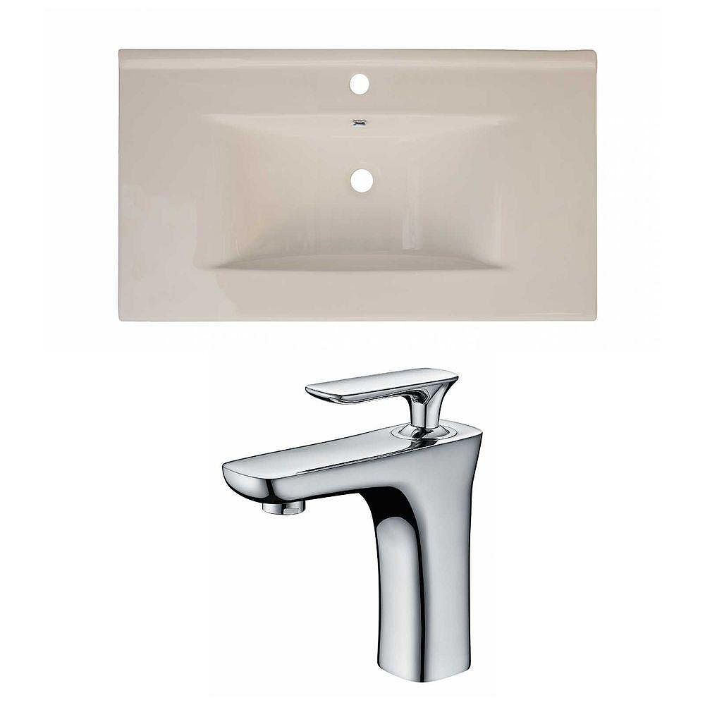 American Imaginations 36-inch W x 20-inch D Ceramic Top Set with Single Hole Faucet in Biscuit