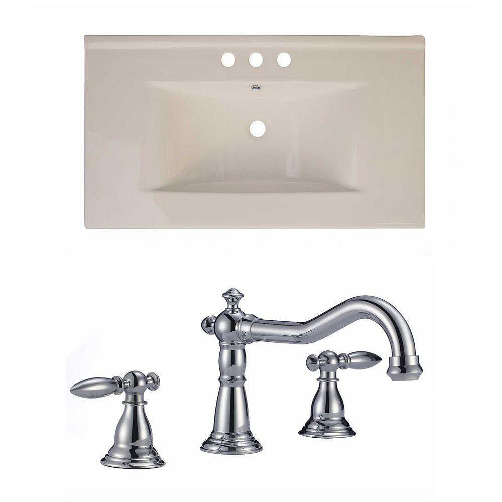 American Imaginations 36-inch W x 20-inch D Ceramic Top Set with 8-inch O.C. Faucet in Biscuit