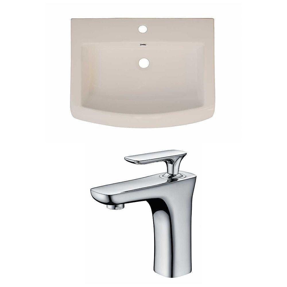 American Imaginations 24-inch W x 18-inch D Ceramic Top Set with Single Hole Faucet in Biscuit