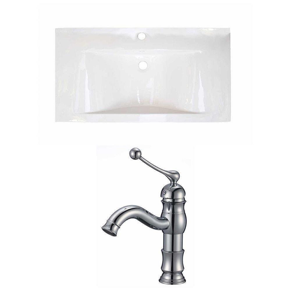 American Imaginations 36-inch W x 19-inch D Ceramic Top Set with Single Hole Faucet in White