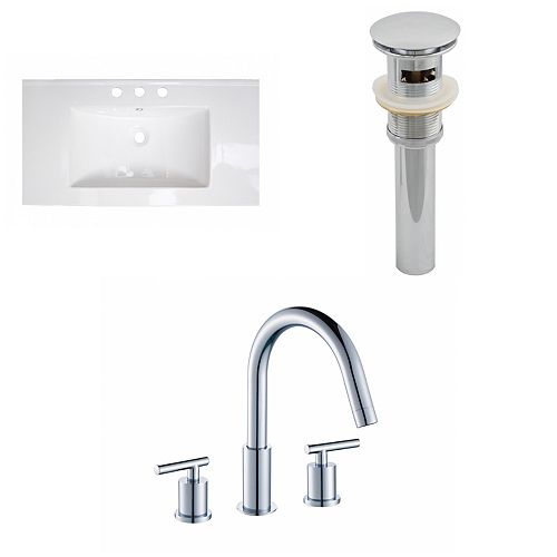 American Imaginations 36-inch W x 20-inch D Ceramic Top with 8-inch O.C. Faucet and Drain in White
