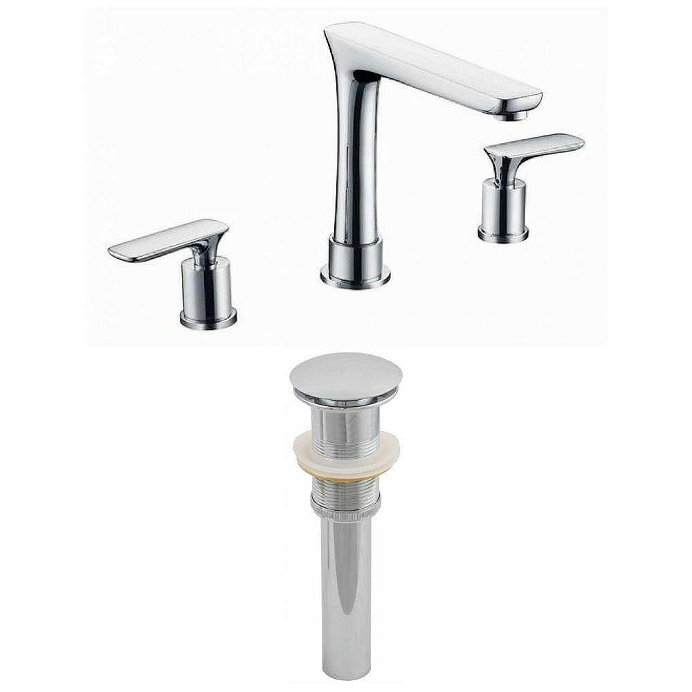 American Imaginations 8-in. O.C. Approuvé CUPC Brass Faucet Set In Color Chrome drain