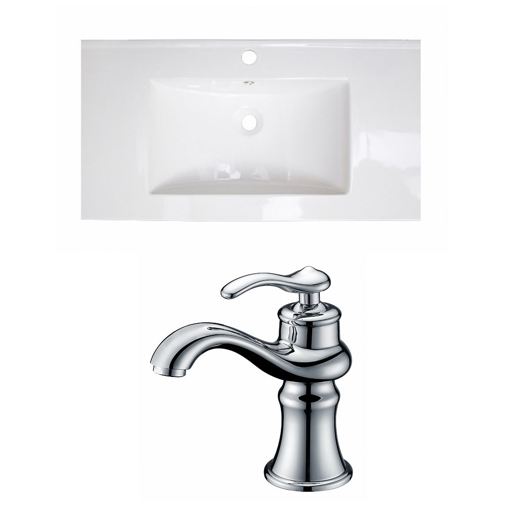 American Imaginations 36-inch W x 18-inch D Ceramic Top with Single Hole Faucet in White