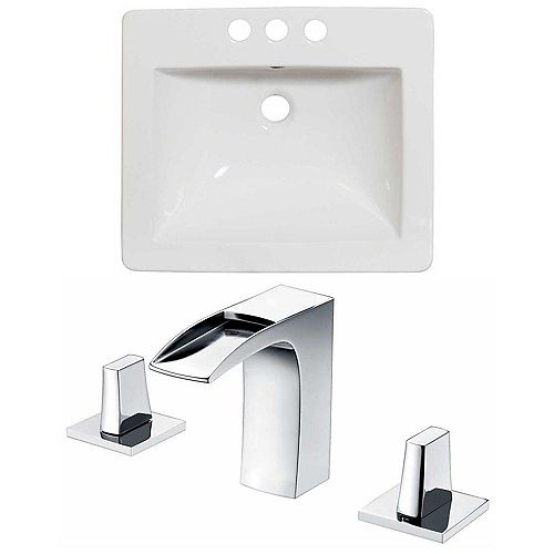 American Imaginations 21-inch W x 18-inch D Ceramic Top Set with 8-inch O.C. Faucet in White