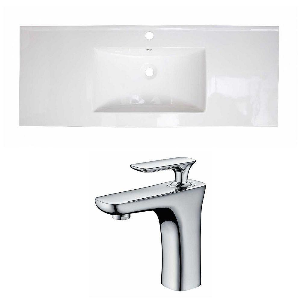 American Imaginations 48-inch W x 18-inch D Ceramic Top Set with Single Hole Faucet in White