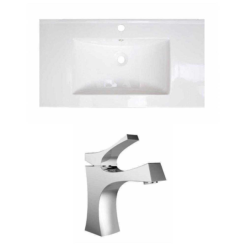 American Imaginations 36-in. W x 18 po. D Céramique Top Set In White Couleur Avec Single Hole CUPC Robinet