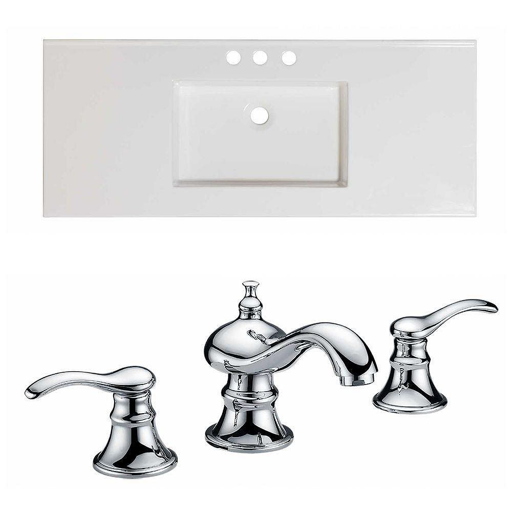 American Imaginations 48-in. W x 20 po. D Céramique Top Set In White Couleur Avec 8-in. O.C. Robinet CUPC