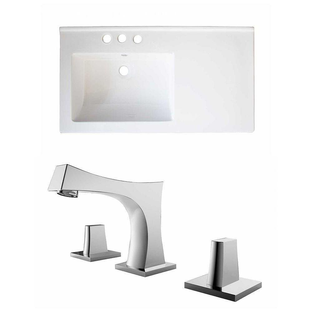 American Imaginations 34-inch W x 18-inch D Ceramic Top with 8-inch O.C. Faucet in White