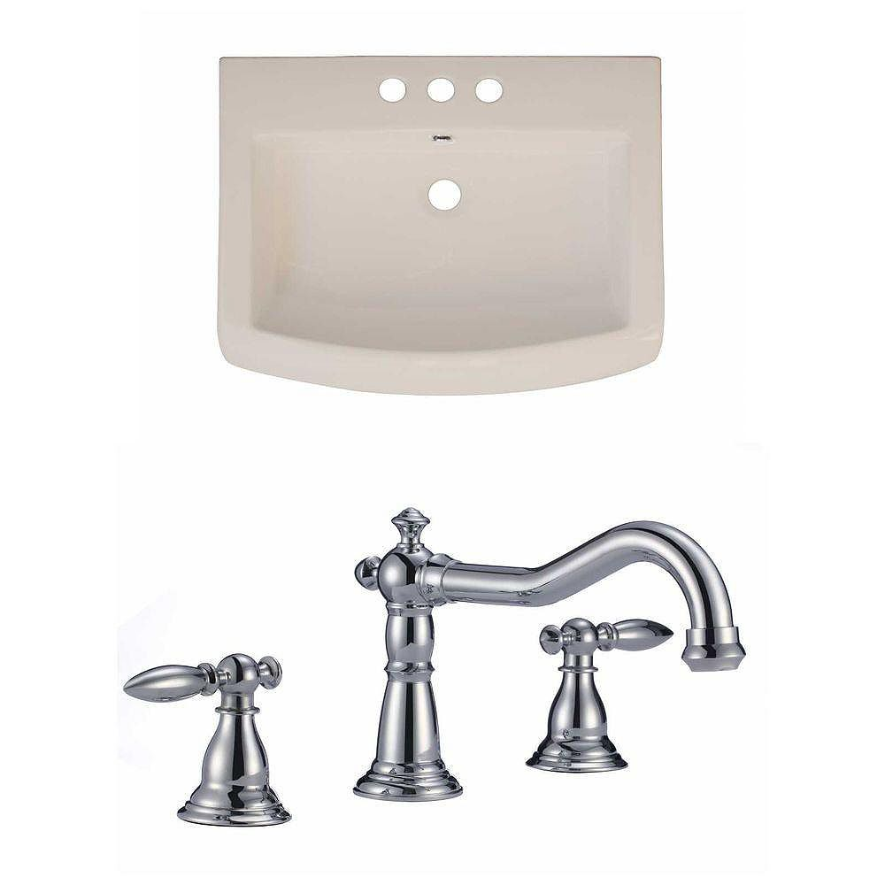 American Imaginations 24-inch W x 18-inch D Ceramic Top Set with 8-inch O.C. Faucet in Biscuit