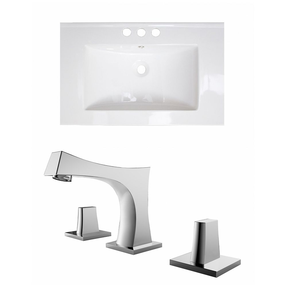 American Imaginations 30-inch W x 18-inch D Ceramic Top with 8-inch O.C. Faucet in White