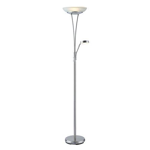 Lampe torchère à DEL avec liseuse, nickel, 180,3cm (71po)