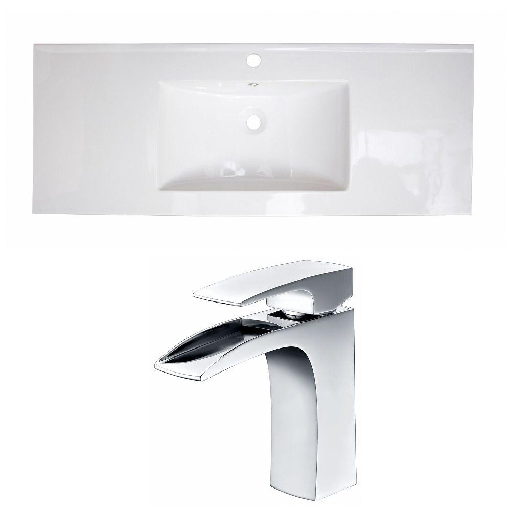 American Imaginations 40-in. W x 18 po. D Céramique Top Set In White Couleur Avec Single Hole CUPC Robinet