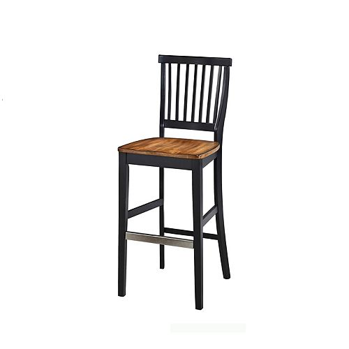 Americana Solid Wood Black Traditional Full Back Armless Bar Stool with Oak Solid Wood Seat
