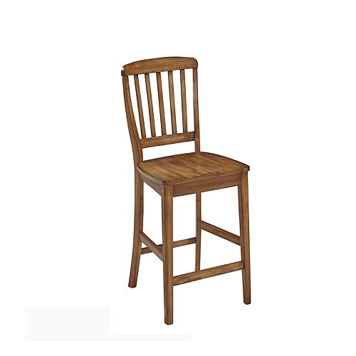 The Vintner Solid Wood Oak Traditional Full Back Armless Bar Stool with Oak Solid Wood Seat