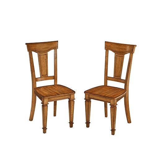 Americana Solid Wood Oak Slat Back Armless Dining Chair with Oak Solid Wood Seat - (Set of 2)