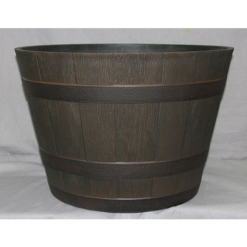 20.5-inch Whiskey Barrel Resin Planter in Kentucky Walnut