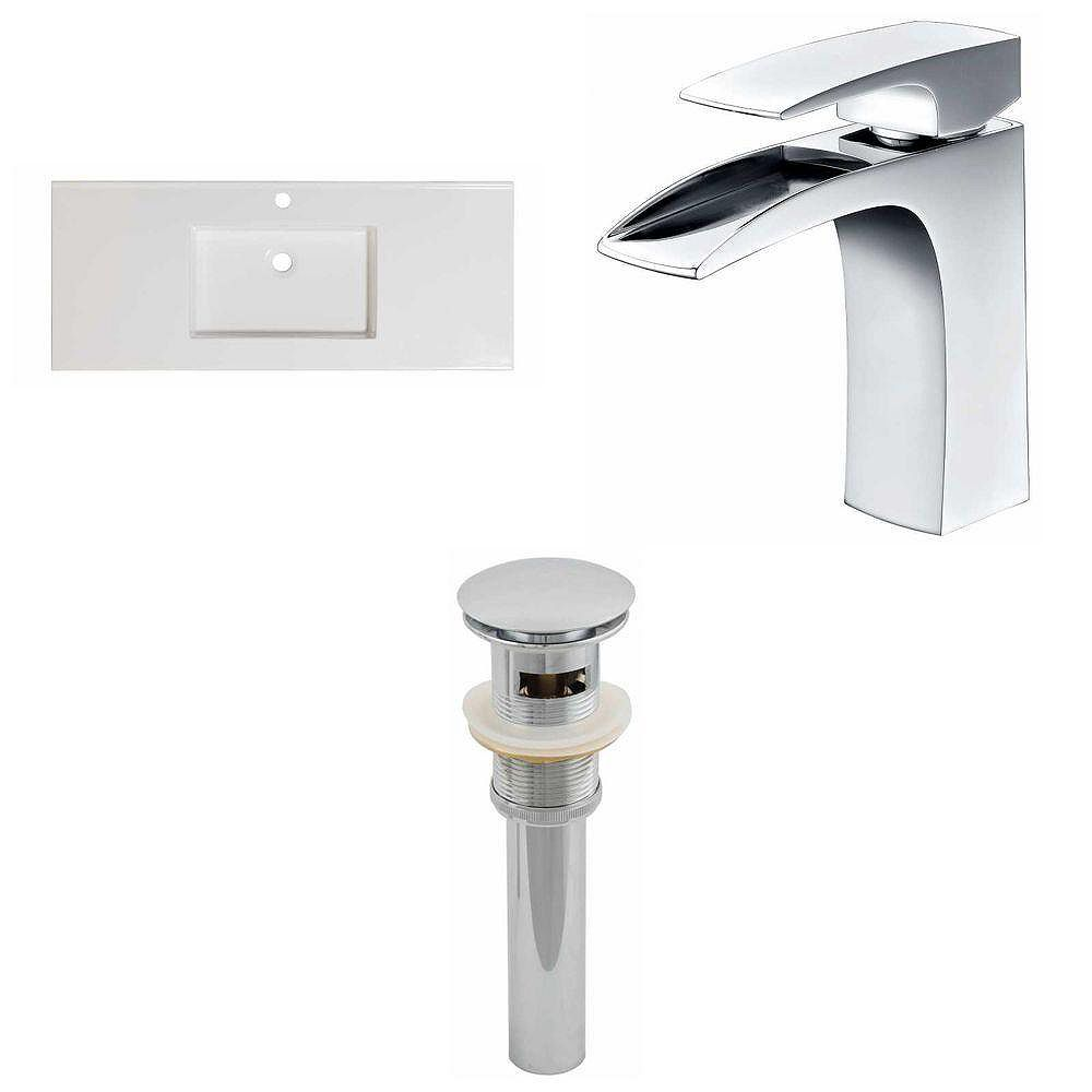 American Imaginations 48-inch W x 20-inch D Ceramic Top Set with Single Hole Faucet and Drain in White