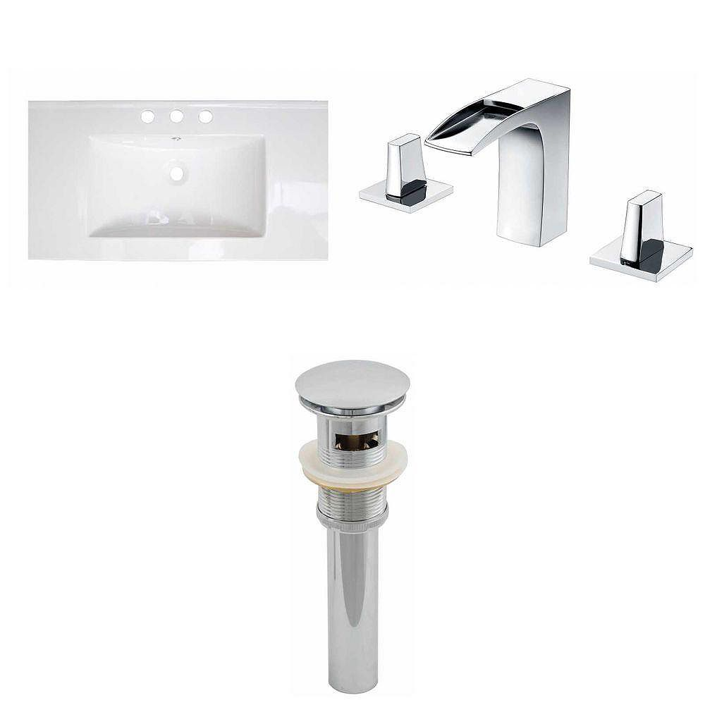 American Imaginations 32-inch W x 18-inch D Ceramic Top with 8-inch O.C. Faucet and Drain in White