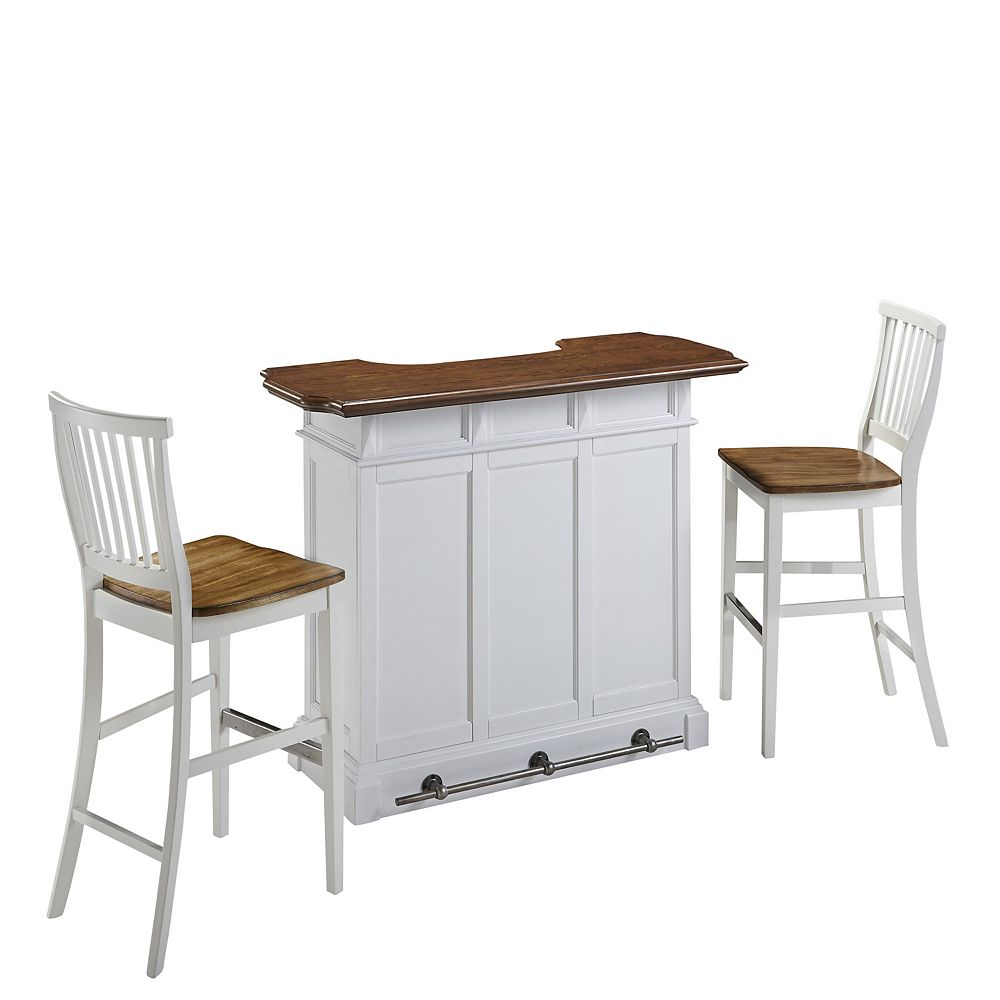 Home Styles Americana White Bar and Two Stools