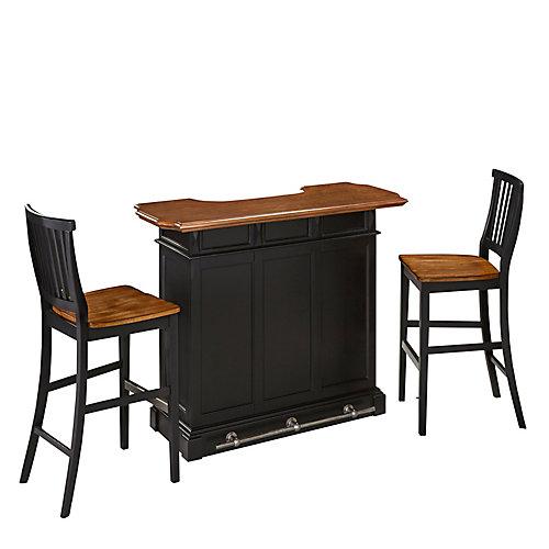 Americana Black Bar and Two Stools