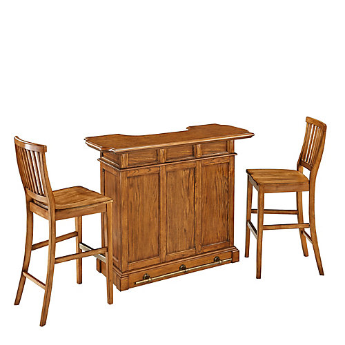 Americana Cottage Oak Bar and Two Stools