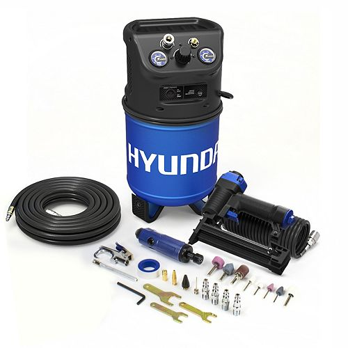 3 Gal. Portable Electric Air Compressor With 5-Tool Carpentry Kit