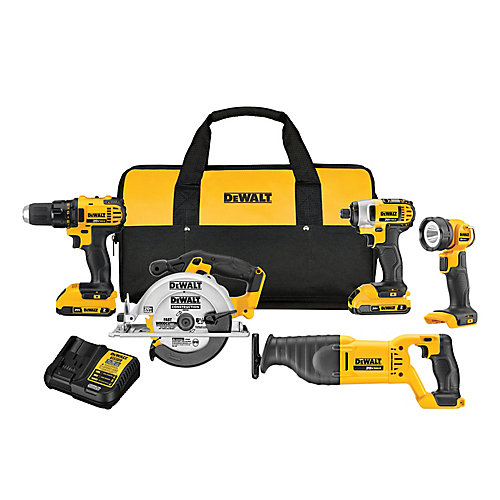 20V MAX Lithium-Ion Cordless Combo Kit (5-Tool) with (2) Batteries 2Ah, Charger and Contractor Bag