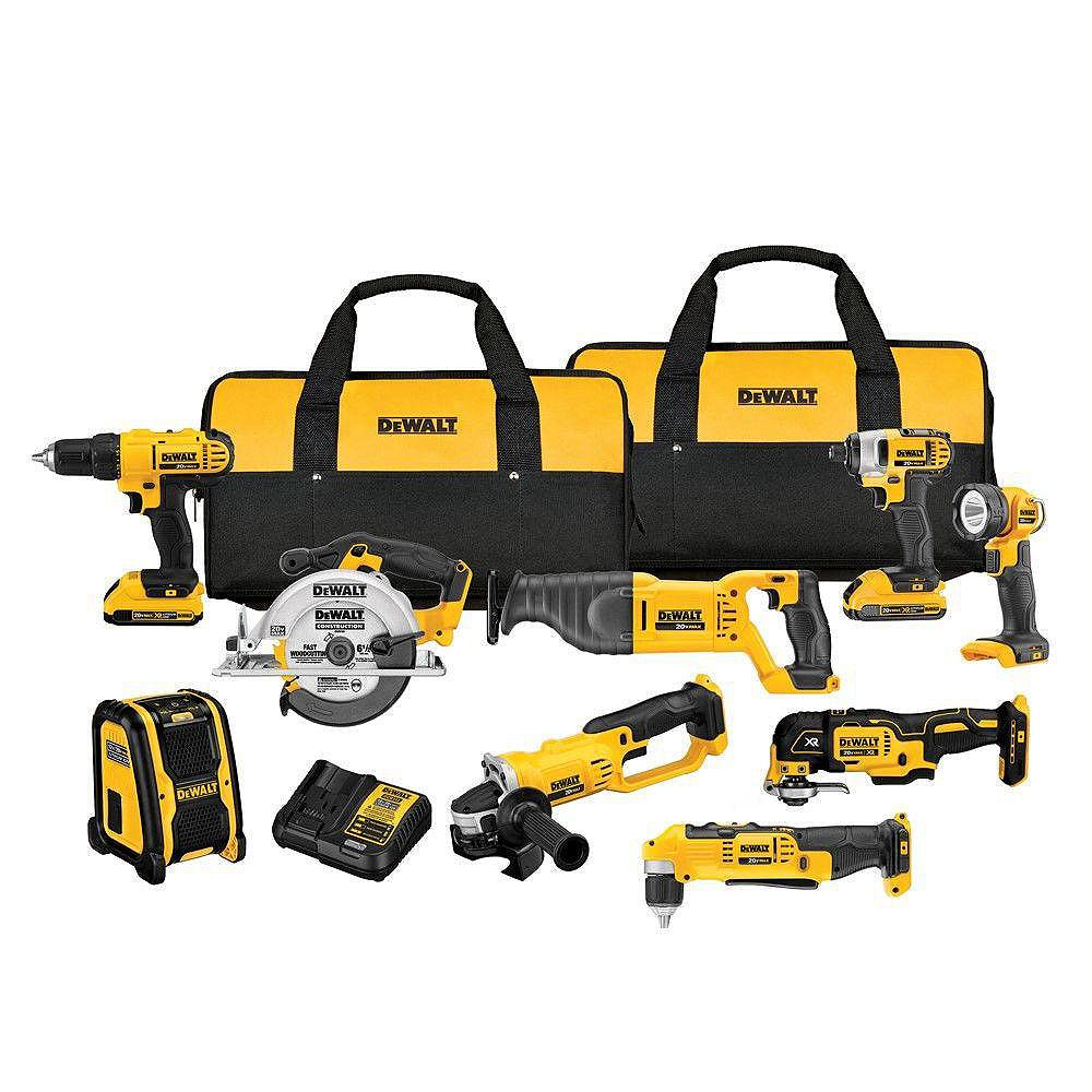 DEWALT 20V MAX Li-Ion Cordless Combo Kit (9-Tool) with (2) Batteries 2Ah, Charger and (2) Contractor Bags