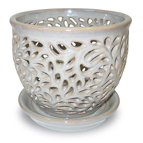 """5.25"""" pot orchidée lacey, flagstone"""